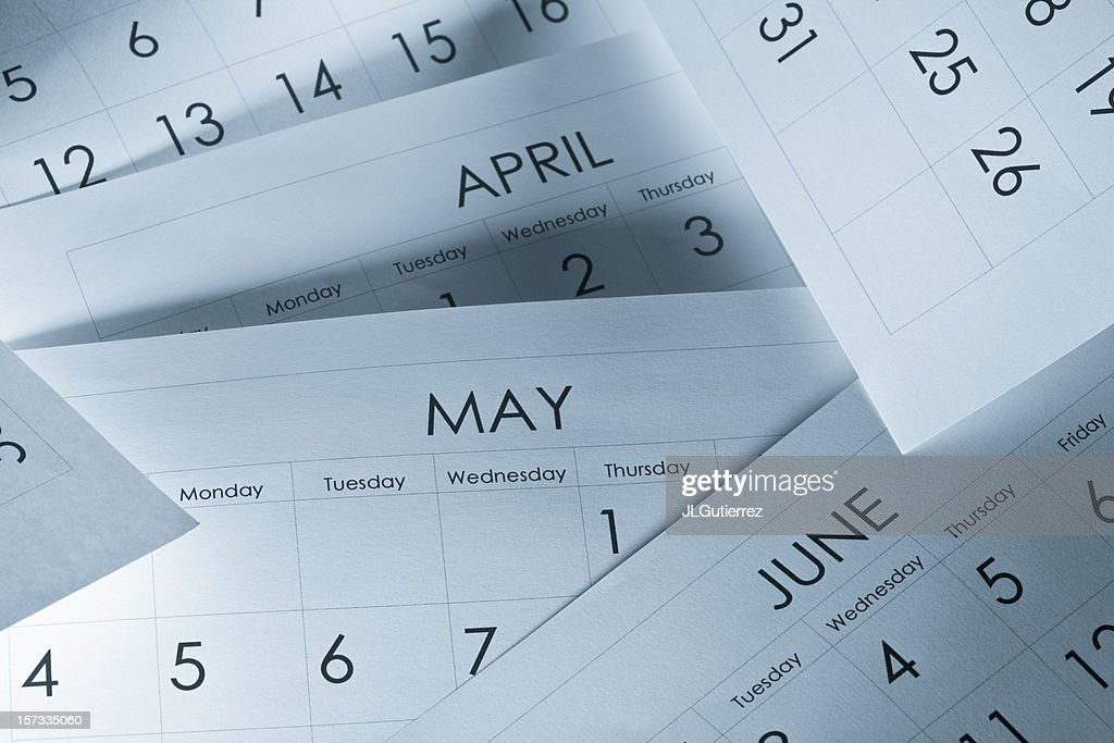 The months and days of the year on calendar paper : Stock Photo