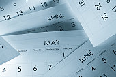 The months and days of the year on calendar paper