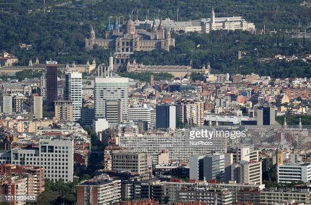 The Montjuic National Palace and the Olympic stadium Barcelona reaches historic lows in air pollution on 06th May 2020