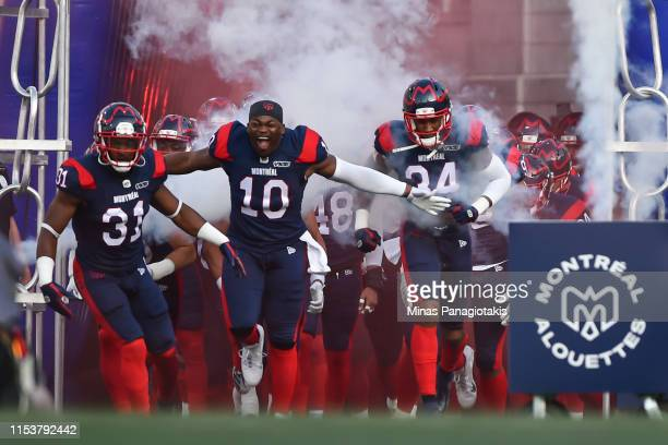 The Montreal Alouettes take to the field against the Hamilton Tiger-Cats during the CFL game at Percival Molson Stadium on July 4, 2019 in Montreal,...