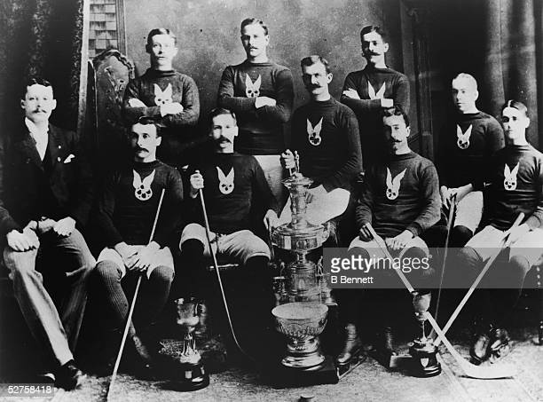 The Montreal Amateur Athletic Association posing with the first Stanley Cup circa 1893 in Montreal Quebec Canada They would go on to win the Stanley...