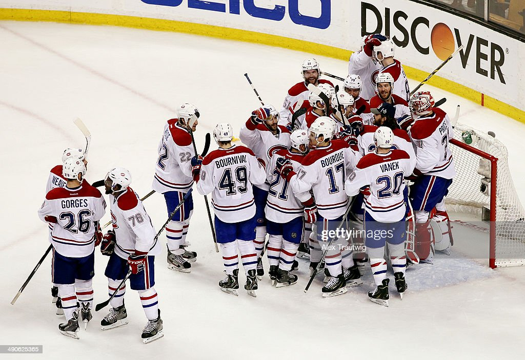 The Montreal Canadiens celebrate after defeating the Boston Bruins 3-1 in Game Seven of the Second Round of the 2014 NHL Stanley Cup Playoffs at the TD Garden on May 14, 2014 in Boston, Massachusetts.