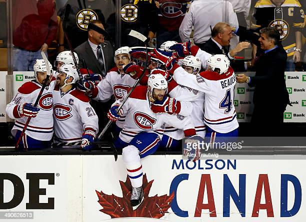 The Montreal Canadiens celebrate after defeating the Boston Bruins 31 in Game Seven of the Second Round of the 2014 NHL Stanley Cup Playoffs at the...