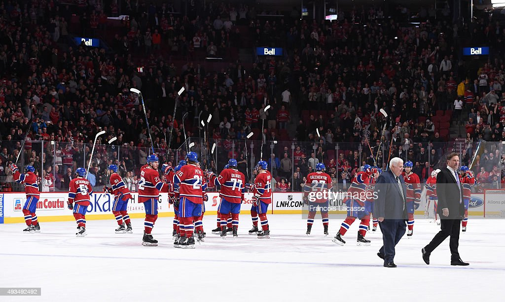The Montreal Canadiens celebrate after defeating the St-Louis Blues in the NHL game at the Bell Centre on October 20, 2015 in Montreal, Quebec, Canada.