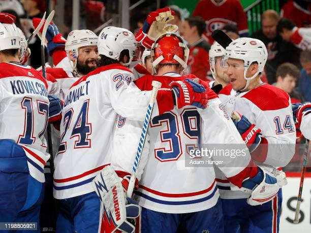 The Montreal Canadiens celebrate defeating the New Jersey Devils 54 in a shootout on February 4 2020 in Newark New Jersey