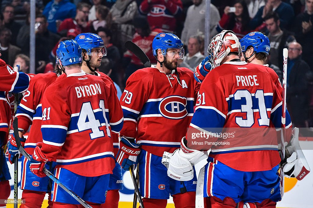 The Montreal Canadiens celebrate their victory over the Detroit Red Wings during the NHL game at the Bell Centre on November 12, 2016 in Montreal, Quebec, Canada. The Montreal Canadiens defeated the Detroit Red Wings 5-0.