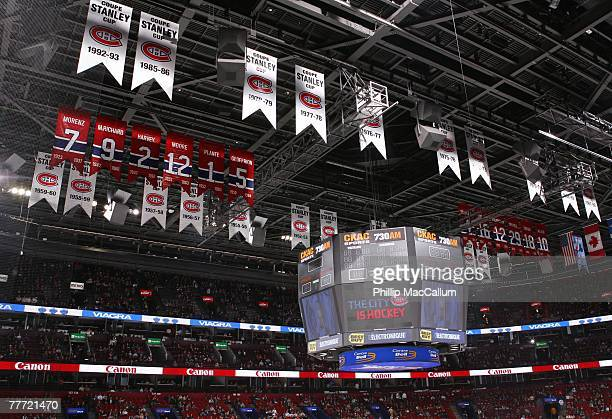 The Montreal Canadiens championship banners hang in the rafters before the game against the Carolina Hurricanes on October 13 2007 at the Bell Centre...