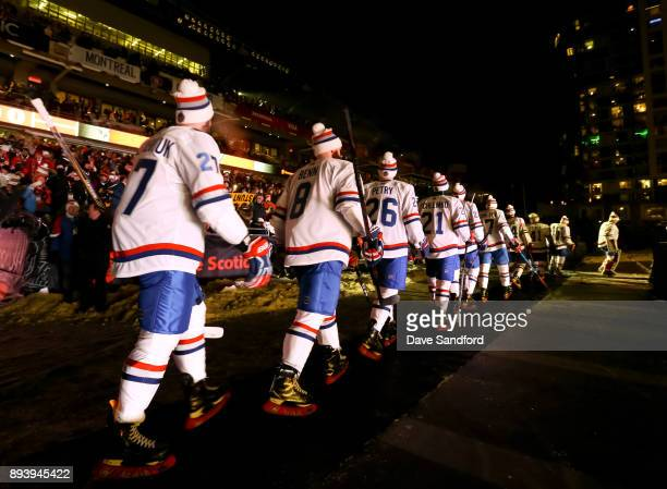 The Montreal Canadiens take to the in before taking on the Ottawa Senators during the 2017 Scotiabank NHL100 Classic at Lansdowne Park on December 16...