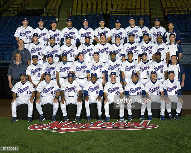 The Montreal Expos pose for a team photo during the 2004 MLB season at Olympic Stadium in Montreal, Quebec, Canada.
