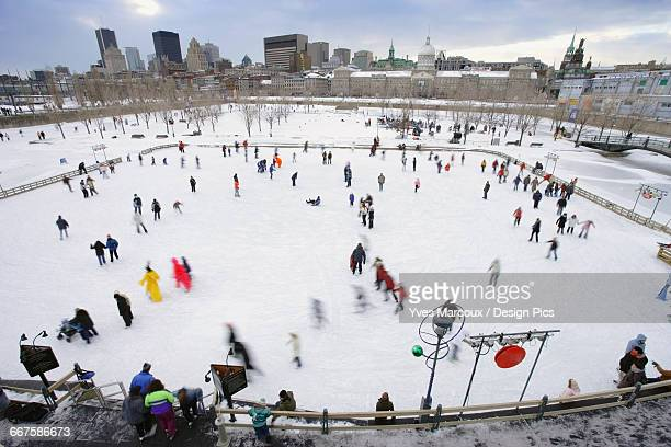 The Montreal High Lights Festival. View Of Skaters At Bonsecours Basin And City, Quebec, Canada