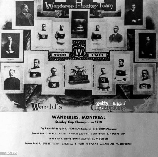 The Montreal Wanderers team pose for a portrait circa 1910 after they won the Stanley Cup LR Top row Fred Strachan and RR Boon Second row Cecil...