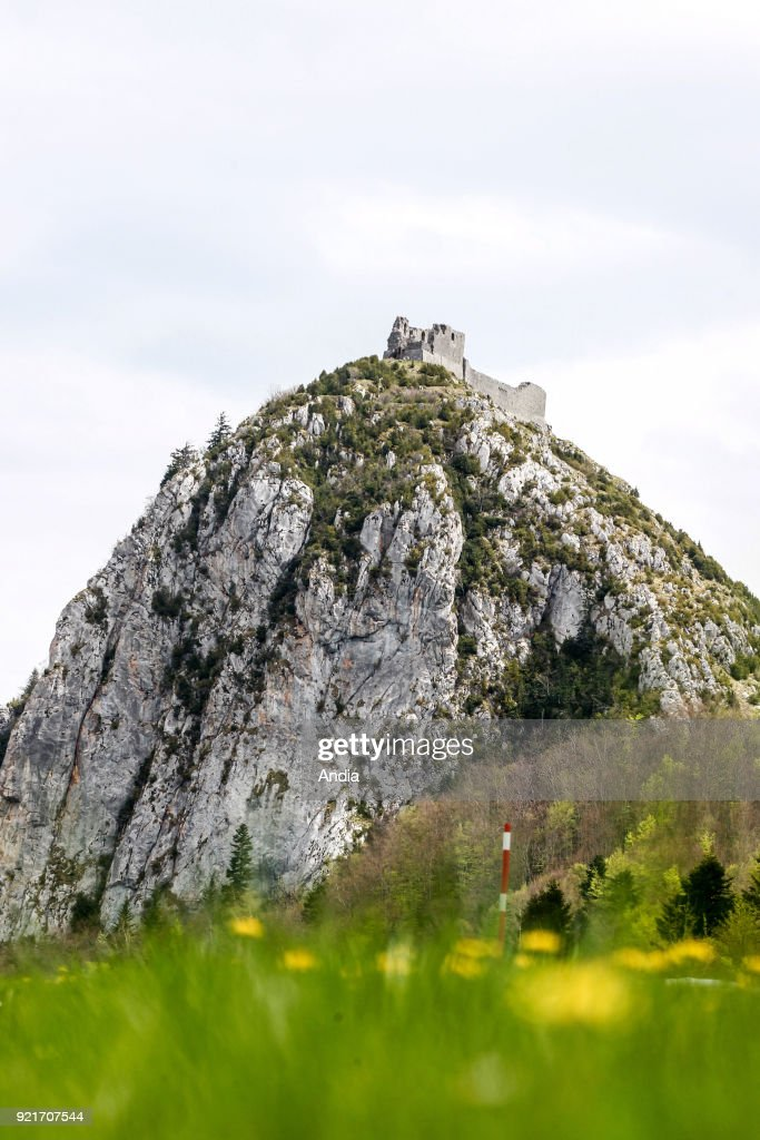 The Montsegur Pog (rock formation) and the Chateau de Montsegur, Cathar fortress registered as a National Historic Landmark (French 'Monument Historique').