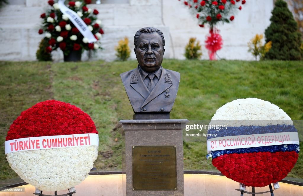 The monument of Andrei Karlov is seen at the Russian Embassy in Ankara, Turkey on November 24, 2017.