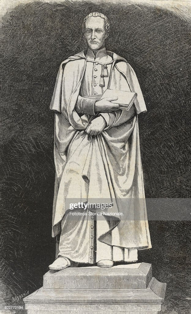 The monument to Abbot Antonio Rosmini Serbati (1797-1855), a philosopher of Catholic liberalism. The statue by Vincenzo Consani was raised in his hometown, here in an engraving of the time. Italy, Rovereto 1879.