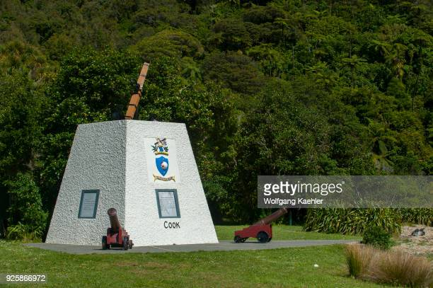 The monument to Captain Cook at the historic Meretoto in Queen Charlotte Sound in the Marlborough Sounds of the South Island which was Captain James...