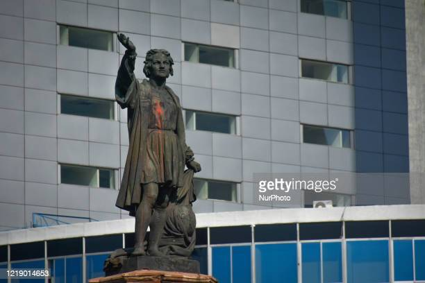 The Monument to Cristobal Colon was painted with red paint during recent protests on June 9 2020 in Mexico City Mexico The last days riots took place...