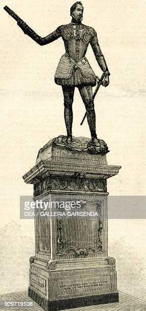 The Monument to Don John of Austria by Andrea Calamech Piazza dei Catalani Messina Sicily Italy woodcut from Le cento citta d'Italia illustrated...