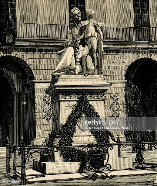 The Monument to Francesca Capece by Antonio Bortone Maglie Apulia Italy woodcut from Le cento citta d'Italia illustrated monthly supplement of Il...