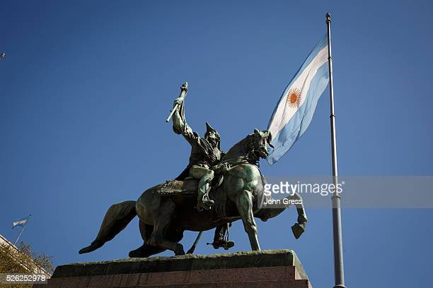 The monument to General Belgrano and the Argentine Flag are seen in Plaza de Mayo in Buenos Aires Argentina September 17 2015