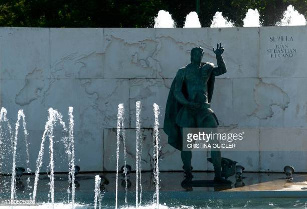 The monument to Juan Sebastian Elcano is pictured during the celebrations marking the 500th anniversary of Ferdinand Magellan's sailing voyage around...