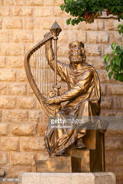 The monument to King David with the harp in Jerusalem,