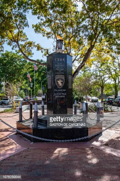 The monument to the fallen in the Bay of Pigs Invasion is seen December 22 2018 in Miami Florida The Eternal Flame honors the Cuban exiles who fell...