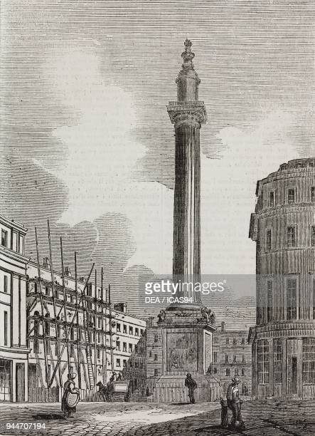 The monument to the Great Fire of 1666 London England United Kingdom illustration from Teatro universale Raccolta enciclopedica e scenografica No 119...