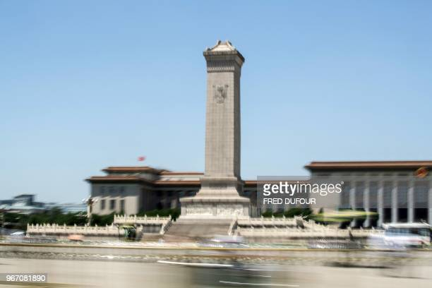 The Monument to the People's Heroes is seen in Tiananmen Square on the anniversary of the 1989 crackdown on protesters in Beijing on June 4 2018...