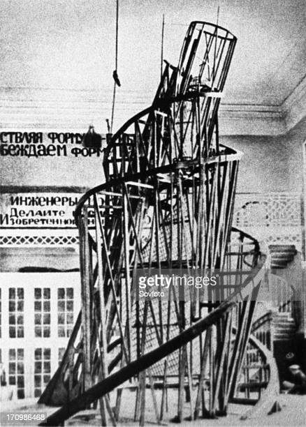 The monument to the third international by vladimir tatlin the model of the proposed tower in the studio of materials volume and construction in...