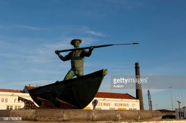 The monument to the whalers at the whaling museum in Sao Roque do Pico on Pico Island in the Azores Portugal