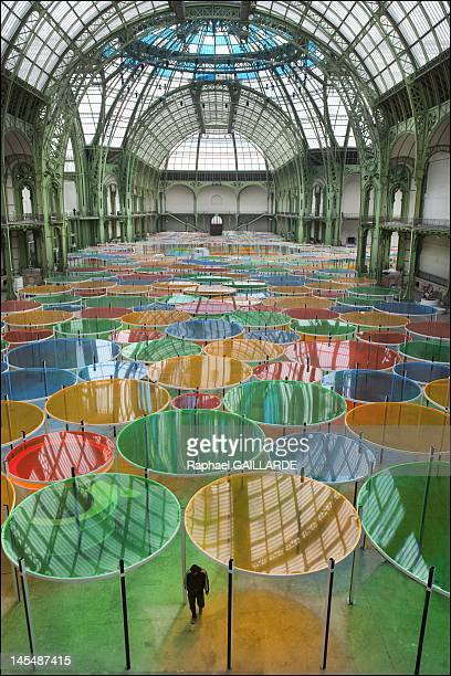 The ''Monumenta'' temporary installation by Daniel Buren is displayed at the Nave of the Grand Palais on May 7 2012 in Paris France Every year the...