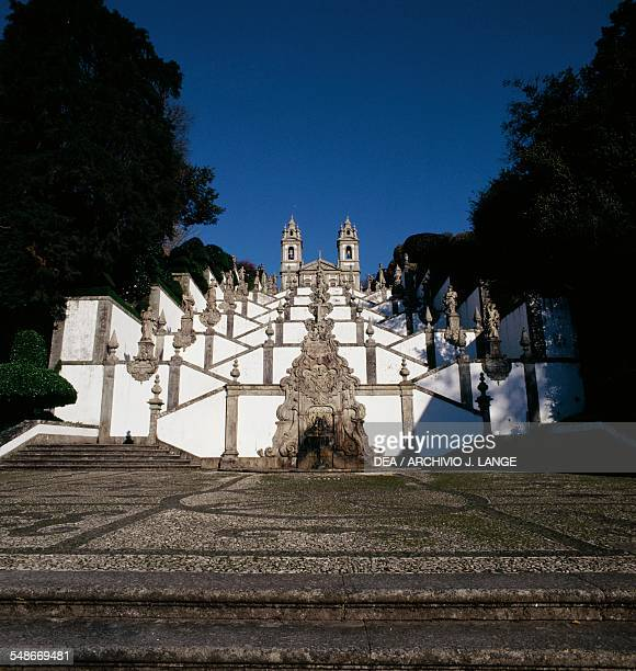 The monumental staircase of the Bom Jesus do Monte sanctuary Braga Norte Portugal 18th19th century