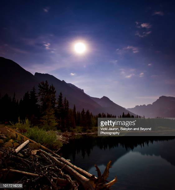 The Moon Against Scenic View of Swiftcurrent Lake at Many Glacier Hotel