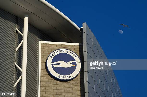 The moon and seagull are seen above the stadium prior to the Sky Bet Championship Play Off semi final second leg match between Brighton Hove Albion...