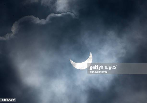 The moon and sun shrouded by fog in the Bay Area during the Total Solar Eclipse on August 21 2017 in Union City CA