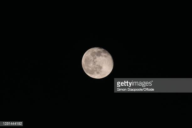 The moon during the Premier League match between Sheffield United and Liverpool at Bramall Lane on February 28, 2021 in Sheffield, United Kingdom....