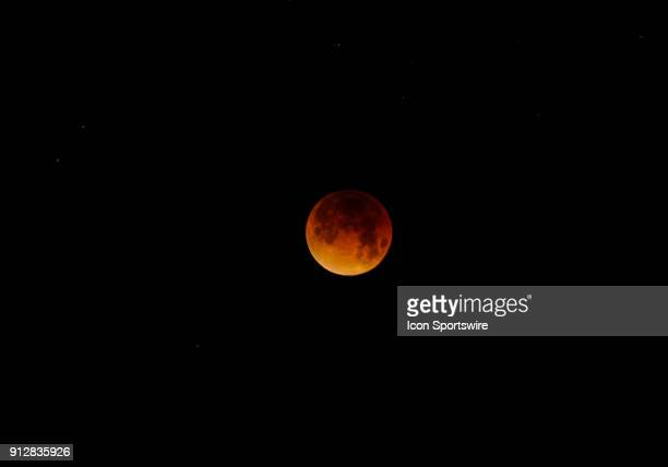 The Moon during the Super Blue Blood Moon Lunar Eclipse on January 31 2018 in Union City CA
