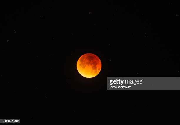 The Moon is its totality during the Super Blue Blood Moon Lunar Eclipse on January 31 2018 in Union City CA