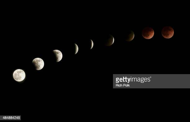 The moon is seen as it nears a total lunar eclipse on April 15 2015 in Venice California People in most of north and south America should be able to...