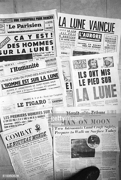 The moon landing headlines on various newspapers including the International Herald Tribune l'Humanite and Le Figaro