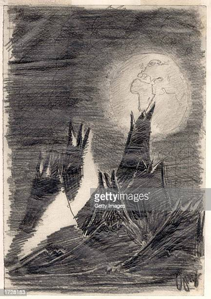 The Moon Landscape drawing painted sometime between 19421944 by young Czech Jewish boy Peter Ginz during his captivity in Theresienstadt...