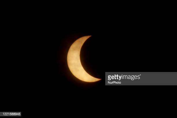 The moon moves in front of the sun during an annular solar eclipse as seen from Kolkata on June 21 2020
