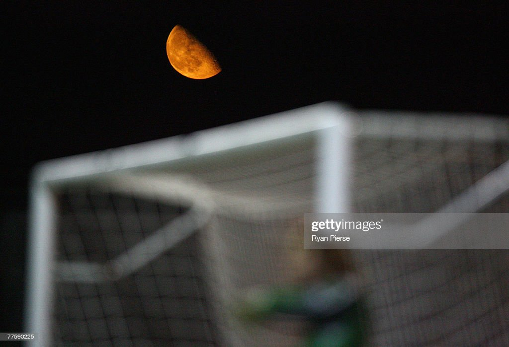 The moon rises over the goal during the Carling Cup Fourth Round match between Luton Town and Everton at Kenilworth Road on October 31, 2007 in Luton, United Kingdom.