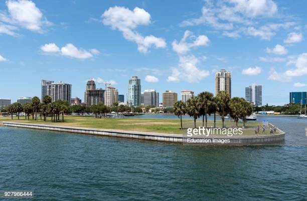The Mooring Field and skyline view at the harbor entrance to St Petersburg Florida USA.