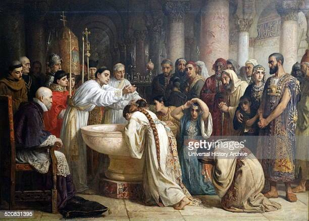 The Moorish Proselytes of Archbishop Ximenes at Granada, 1500. Painted in 1873 by Edwin Long 1829-1891. Ximenes ordered the forced conversion of all...