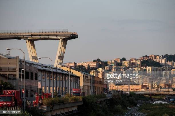 The Morandi Bridge still partially stands after a large section of it collapsed earlier this week on August 18 2018 in Genoa Italy 43 people were...