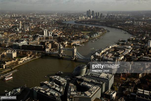 The More London commercial estate Tower Bridge and Canary Wharf seen from the View from The Shard on January 27 2014 in London England A study has...
