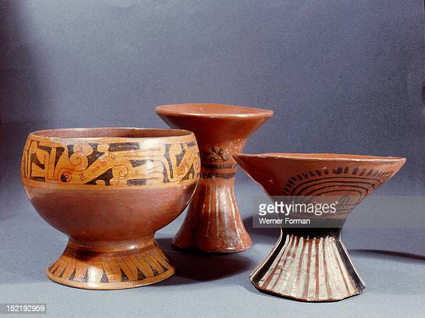 The more sophisticated Aztec pottery was reserved for noblemen and priests The eating bowl is decorated with a symbol of the wind serpent The two...