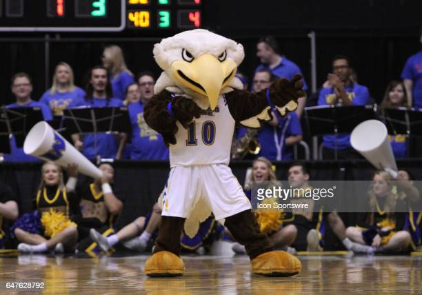 The Morehead State Eagles mascot Beaker entertains the crowd during a quarterfinal game against Murray State in the Ohio Valley Conference Tournament...