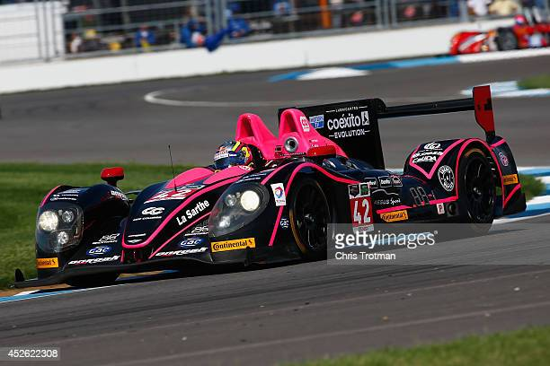 The Morgan Nissan of Gustavo Yacaman and Ho Pin Tung drives during practice for the TUDOR United SportsCar Championship Brickyard Grand Prix at...